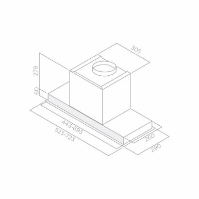 Okap ELICA HIDDEN IXGL/A/60 (stal nierdzewna+białe szkło)